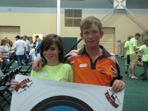 RBA archer Leanne Applewhite poses with a fellow competitor from South Africa at the NASP® World Tournament in Orlando, FL.