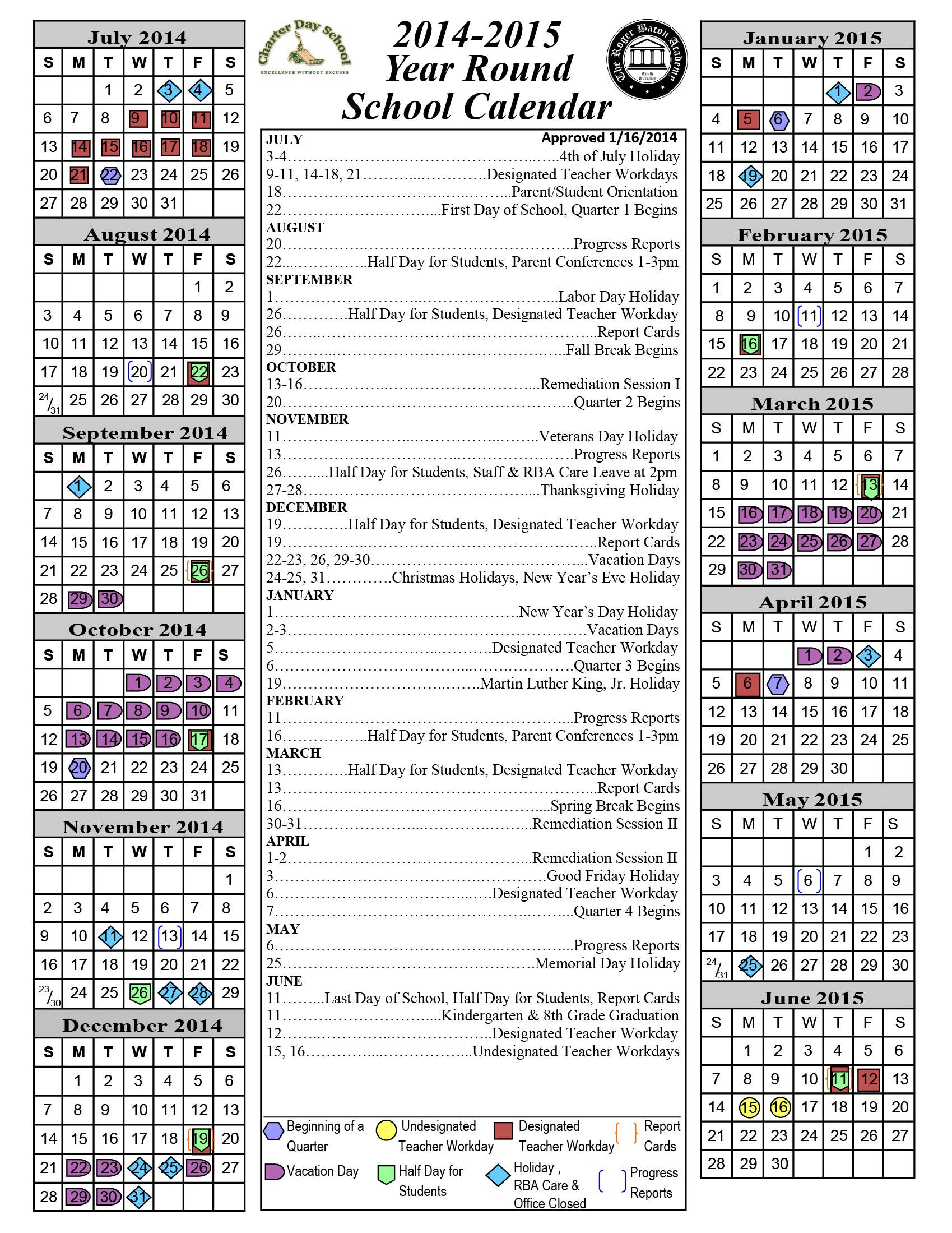 2014 2015 Academic Calendar « Charter Day School