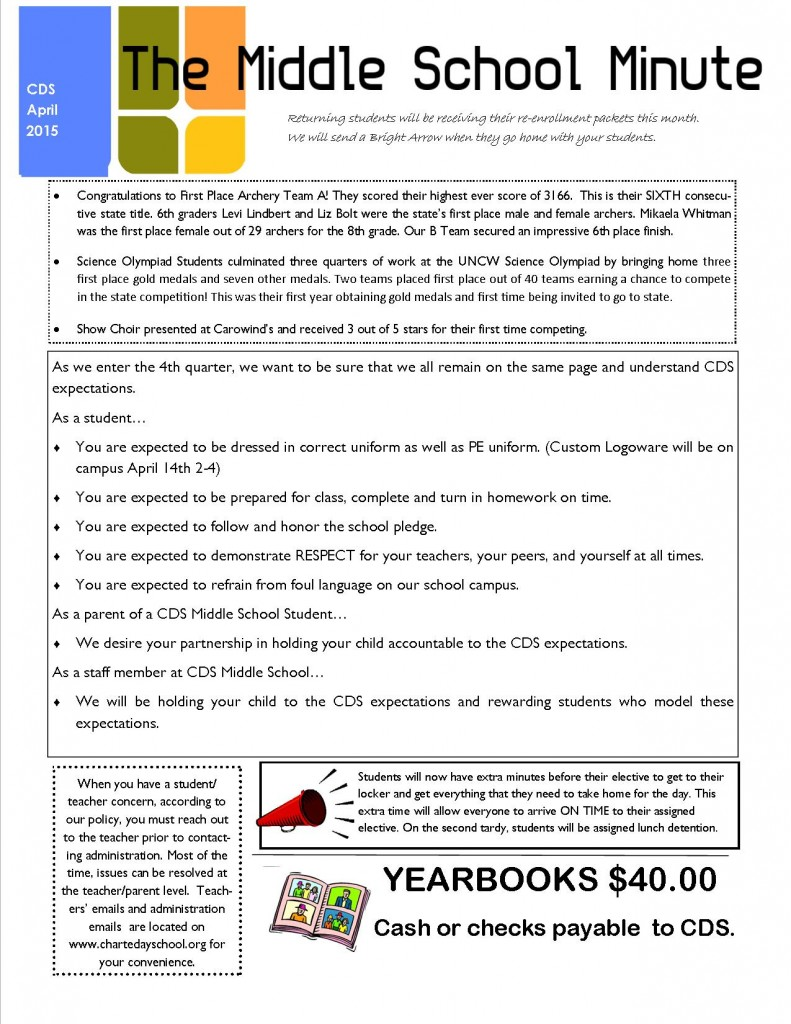 2015 April Middle School Minute Page 1