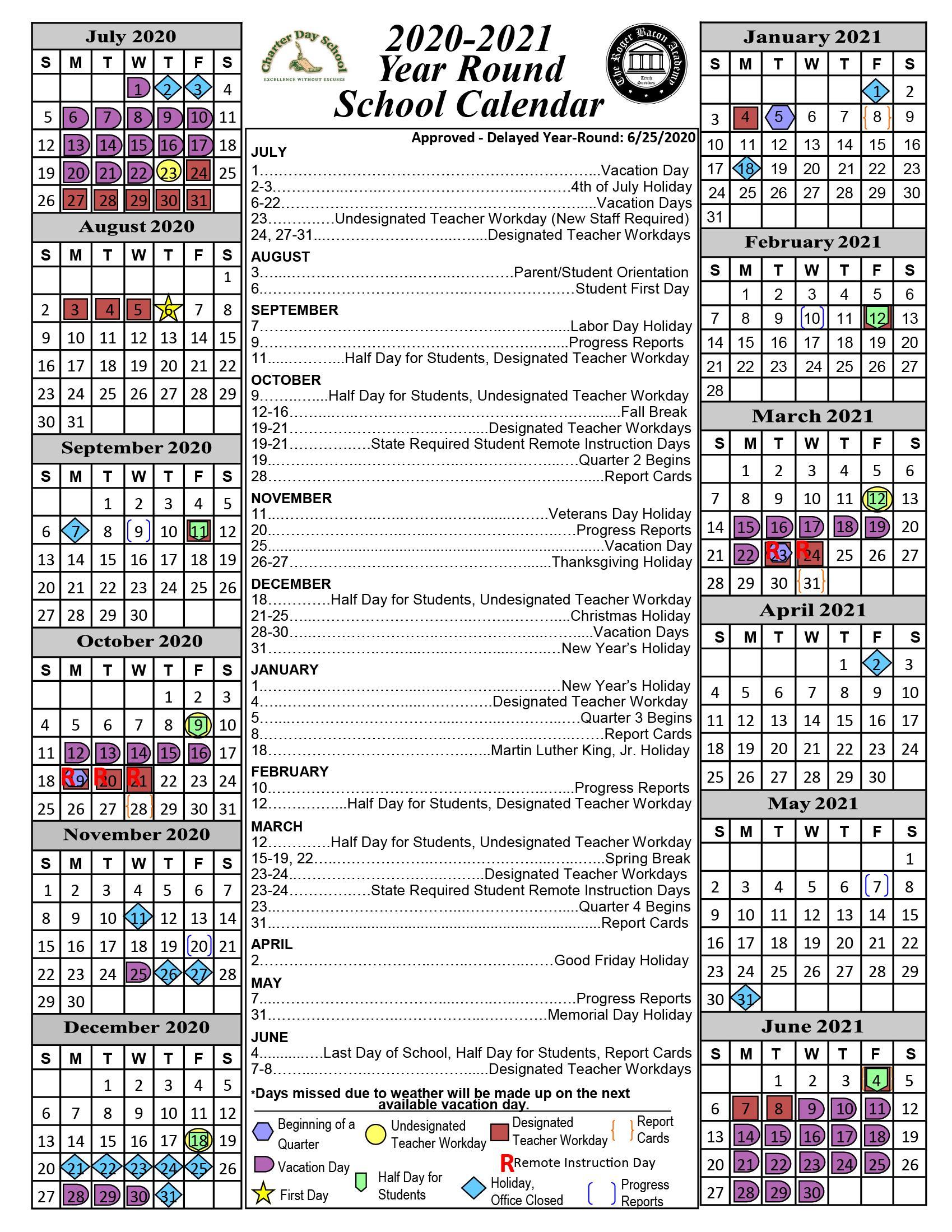 Calendar « Charter Day School